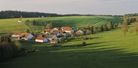 """Switzerland, Jura Mountains, La Bosse, High angle view of cottages in a valley by Panoramic Images - 36"""" x 12"""""""