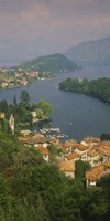 """High angle view of houses at the waterfront, Sala Comacina, Lake Como, Italy by Panoramic Images - 12"""" x 36"""""""