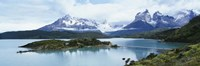 Island in a lake, Lake Pehoe, Hosteria Pehoe, Cuernos Del Paine, Torres del Paine National Park, Patagonia, Chile Fine Art Print