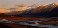 "River along mountains, Rakaia River, Canterbury Plains, South Island, New Zealand by Panoramic Images - 36"" x 12"""