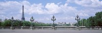 """Cloud Over The Eiffel Tower, Pont Alexandre III, Paris, France by Panoramic Images - 36"""" x 12"""""""