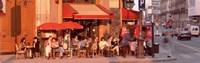 Tourists at a sidewalk cafe, Paris, France Fine Art Print