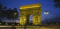 "Arc De Triomphe at night, Paris, France by Panoramic Images - 36"" x 18"""