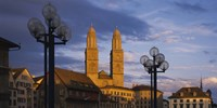 """Low angle view of a church, Grossmunster, Zurich, Switzerland by Panoramic Images - 36"""" x 12"""""""