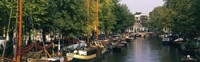 """View of a Canal, Netherlands, Amsterdam by Panoramic Images - 36"""" x 12"""", FulcrumGallery.com brand"""