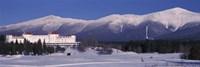 Hotel near snow covered mountains, Mt. Washington Hotel Resort, Mount Washington, Bretton Woods, New Hampshire, USA Fine Art Print