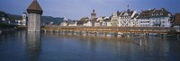 """Covered bridge over a river, Chapel Bridge, Reuss River, Lucerne, Switzerland by Panoramic Images - 36"""" x 12"""""""