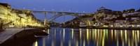"Night, Luis I Bridge, Porto, Portugal by Panoramic Images - 36"" x 12"""