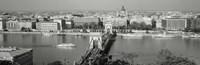 Chain Bridge Over The Danube River, Budapest, Hungary Fine Art Print