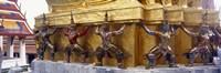 "Statues at base of golden chedi, The Grand Palace, Bangkok, Thailand by Panoramic Images - 36"" x 12"" - $34.99"