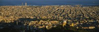 """Aerial View of Barcelona, Spain by Panoramic Images - 36"""" x 12"""", FulcrumGallery.com brand"""
