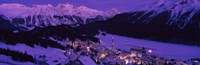 """High angle view of a village, St. Moritz, Switzerland by Panoramic Images - 36"""" x 12"""""""