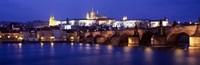 "Bridge across a river lit up at night, Charles Bridge, Vltava River, Prague, Czech Republic by Panoramic Images - 36"" x 12"""