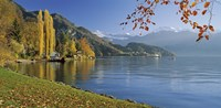 "Switzerland, Canton Lucerne, Lake Vierwaldstattersee Vitznau, Panoramic view of mountains around a lake by Panoramic Images - 36"" x 12"""