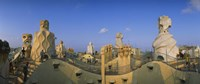 """Chimneys on the roof of a building, Casa Mila, Barcelona, Catalonia, Spain by Panoramic Images - 36"""" x 12"""""""