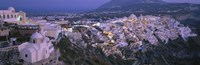 """Buildings, Houses, Night, Fira, Santorini Greece by Panoramic Images - 36"""" x 12"""""""