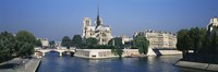 Cathedral along a river, Notre Dame Cathedral, Seine River, Paris, France Fine Art Print