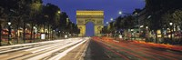 """View Of Traffic On An Urban Street, Champs Elysees, Arc De Triomphe, Paris, France by Panoramic Images - 36"""" x 12"""""""