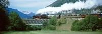 "Train on a bridge, Bohinjska Bistrica, Slovenia by Panoramic Images - 36"" x 12"""