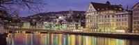 """Switzerland, Zurich, River Limmat, view of buildings along a river by Panoramic Images - 36"""" x 12"""""""