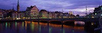 """River Limmat Zurich Switzerland by Panoramic Images - 36"""" x 12"""", FulcrumGallery.com brand"""