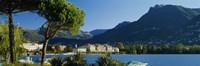 "City on the waterfront, Lake Lugano, Lugano, Switzerland by Panoramic Images - 36"" x 12"""
