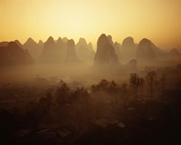 Sunrise in Mountains Guilin China Fine Art Print
