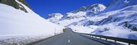 """Empty road passing through a polar landscape, Route 3, Graubunden, Switzerland by Panoramic Images - 36"""" x 12"""""""