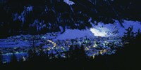 High angle view of a town, Davos, Switzerland Fine Art Print