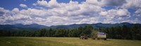Tractor on a field, Waterbury, Vermont, USA Fine Art Print