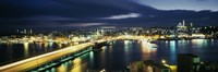 """High angle view of a bridge lit up at night, Istanbul, Turkey by Panoramic Images - 36"""" x 12"""""""