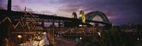 "Bridge lit up at night, Sydney Harbor Bridge, Sydney, New South Wales, Australia by Panoramic Images - 36"" x 12"""