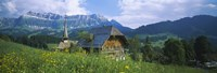 """Chalet and a church on a landscape, Emmental, Switzerland by Panoramic Images - 36"""" x 12"""""""