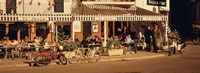 Tourists sitting in a cafe, Sitges Beach, Catalonia, Spain Fine Art Print