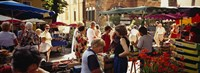 """Group of people in a street market, Ceret, France by Panoramic Images - 36"""" x 12"""""""
