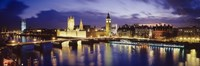 """Buildings lit up at dusk, Big Ben, Houses Of Parliament, London, England by Panoramic Images - 36"""" x 12"""""""