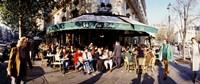 """Group of people at a sidewalk cafe, Les Deux Magots, Saint-Germain-Des-Pres Quarter, Paris, France by Panoramic Images - 36"""" x 12"""""""