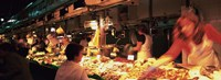 """Group of people at a street market, Barcelona, Spain by Panoramic Images - 36"""" x 12"""""""