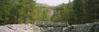 Wooden footbridge across a stream in a mountain range, Switzerland by Panoramic Images - various sizes