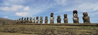 "Low angle view of Moai statues in a row, Easter Island, Chile by Panoramic Images - 36"" x 12"""