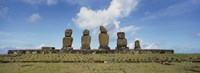 "Moai statues in a row, Tahai Archaeological Site,  Easter Island, Chile by Panoramic Images - 36"" x 12"""