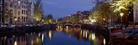 """Night View Along Canal Amsterdam The Netherlands by Panoramic Images - 36"""" x 12"""""""