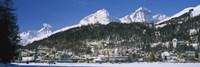 Town On The Mountainside, Saint Moritz, Engadine Valley, Graubunden, Switzerland Fine Art Print