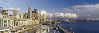 """High Angle View Of Boats Docked At A Harbor, Seattle, Washington State, USA by Panoramic Images - 36"""" x 12"""""""