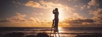 Man Looking Through Binoculars In Silhouette Fine Art Print