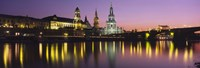 """Reflection Of Buildings On Water At Night, Dresden, Germany by Panoramic Images - 36"""" x 12"""""""