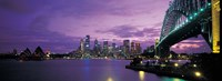 Port Jackson, Sydney Harbor And Bridge Night, Sydney, Australia Fine Art Print