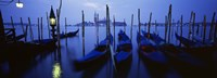 "Moored Gondolas at Night, Grand Canal, Venice, Italy by Panoramic Images - 36"" x 12"""
