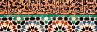 Close-up of design on a wall, Ben Youssef Medrassa, Marrakesh, Morocco Fine Art Print