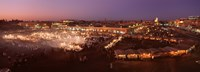 High angle view of a market lit up at dusk, Djemaa El Fna, Medina Quarter, Marrakesh, Morocco Fine Art Print